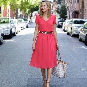 WAYF coral midi dress